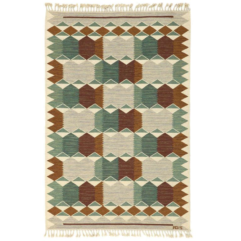 Swedish Flatwoven Rölakan Rug | From a unique collection of antique and modern russian and scandinavian rugs at http://www.1stdibs.com/furniture/rugs-carpets/russian-scandinavian-rugs/