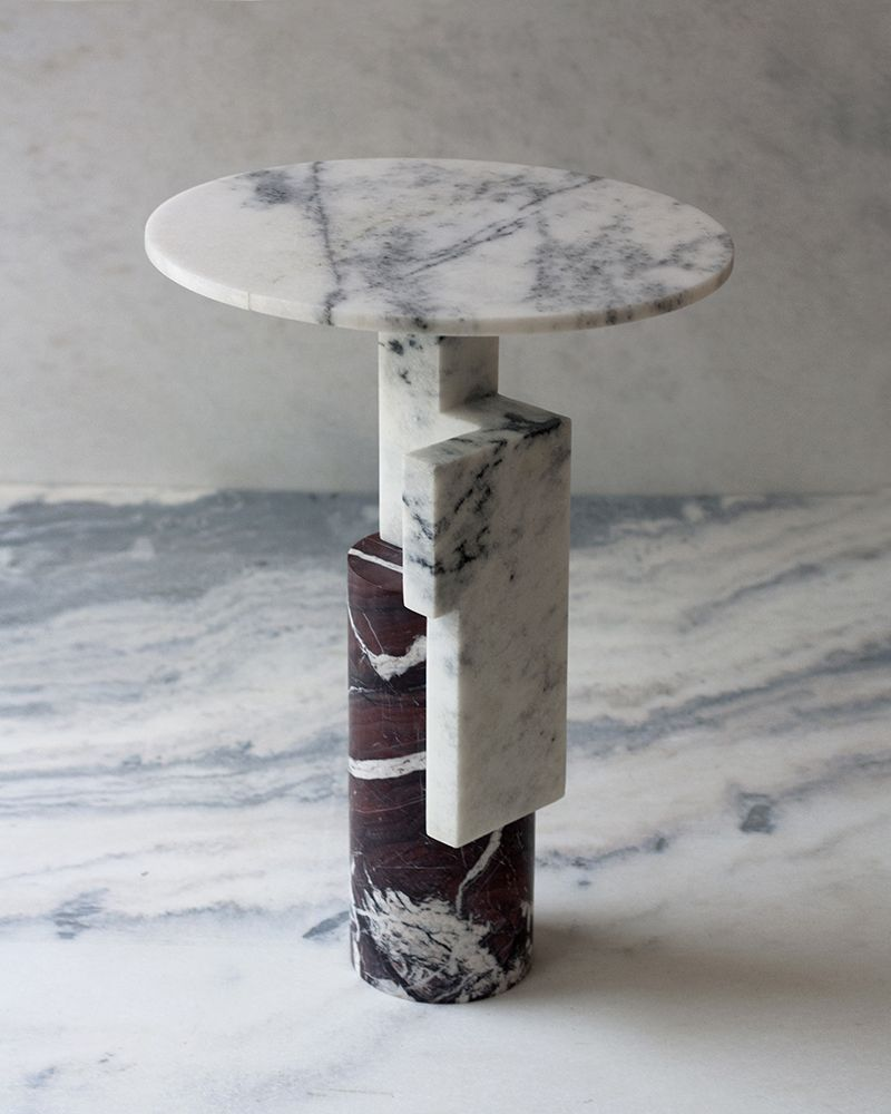 Studio Raw Material Side Table Offcut Ii Unique Piece White Mist And Red Jasper Marbles D