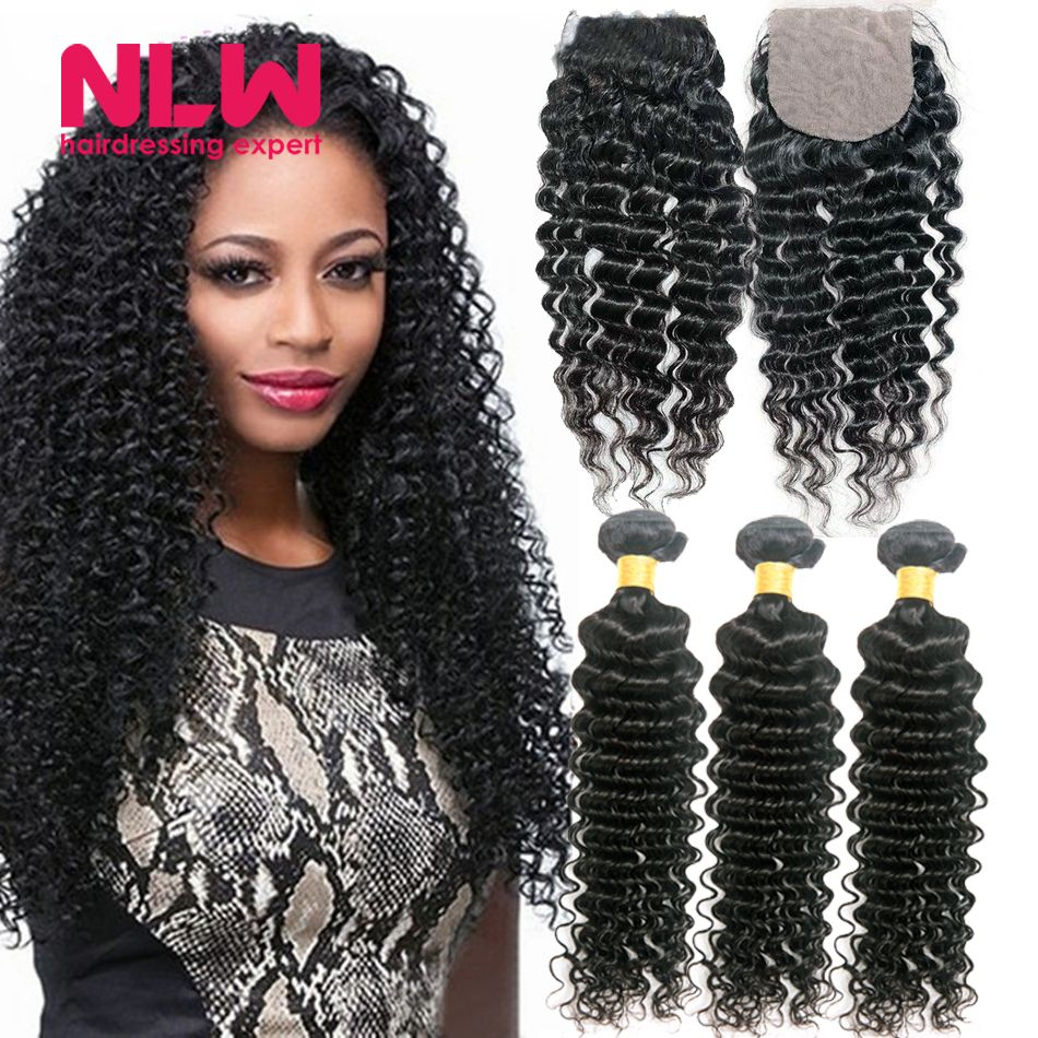 Full Soft Deep Wave Malaysian Hair Weave With Closure Cheap 8a