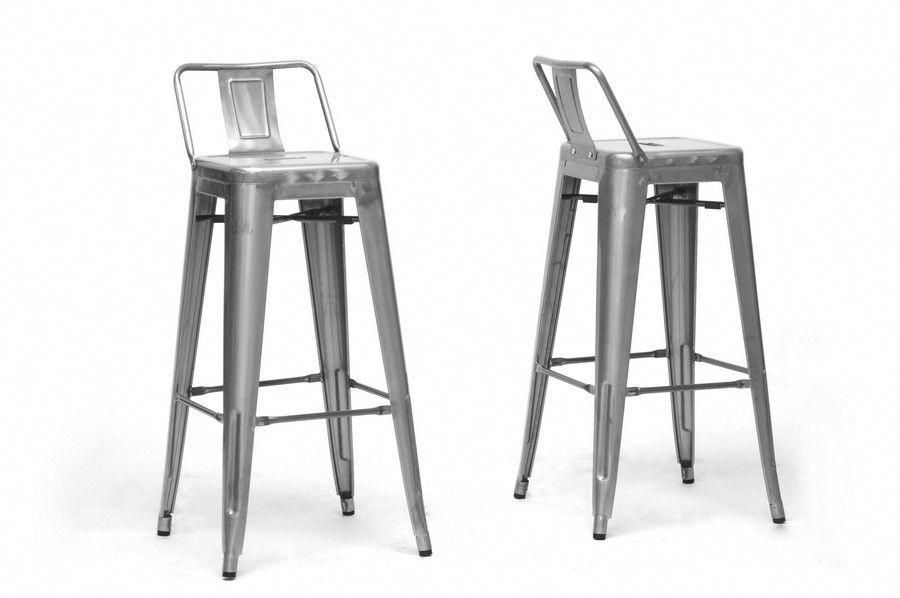 Baxton Studio French Industrial Modern Bar Stool With Back Support Set Of 2 Contemporary Bar Stools Bar Stools Modern Bar Stools