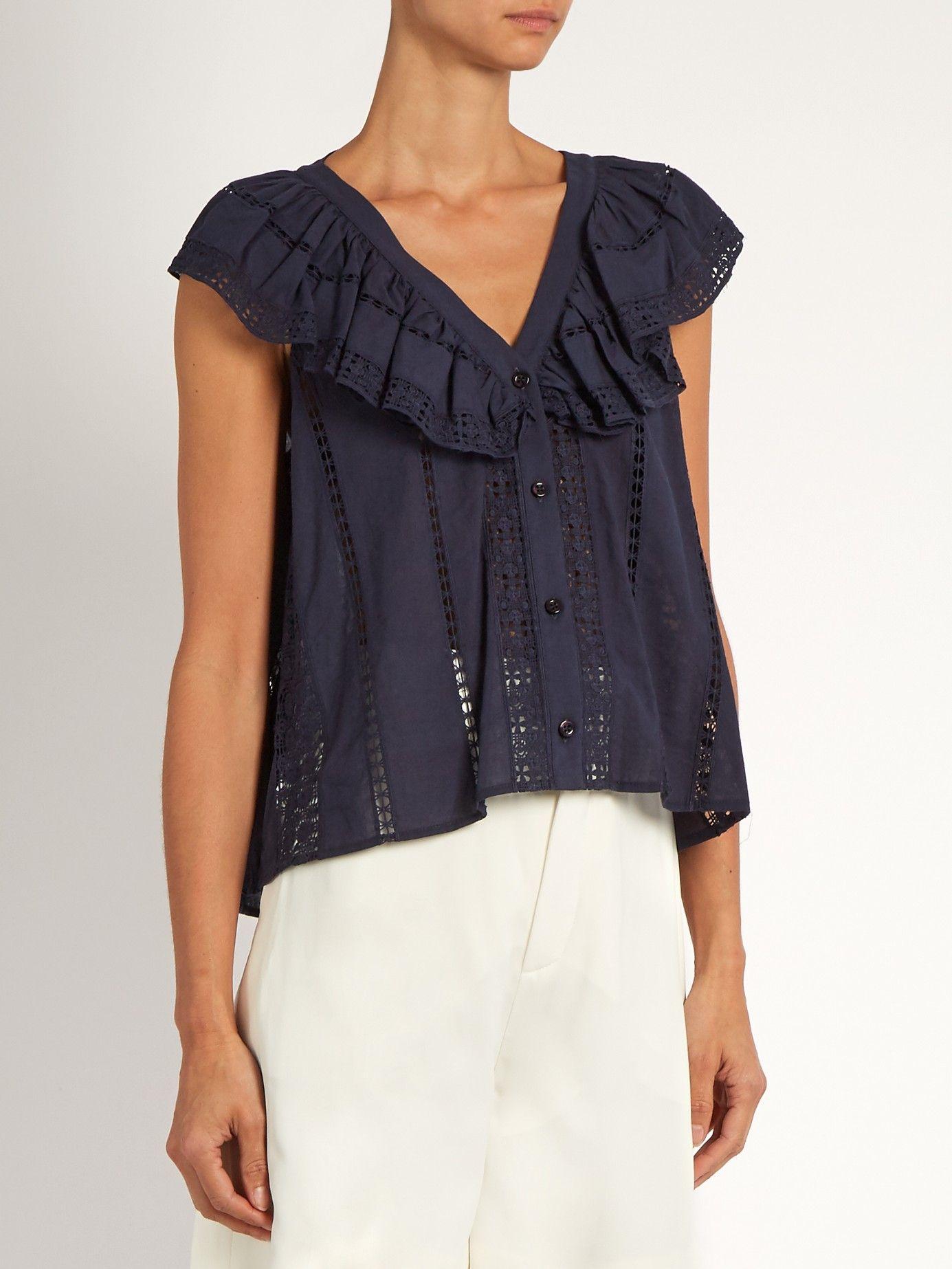 Ruffled sailor-bib lace-trimmed cotton top | Sea | MATCHESFASHION.COM