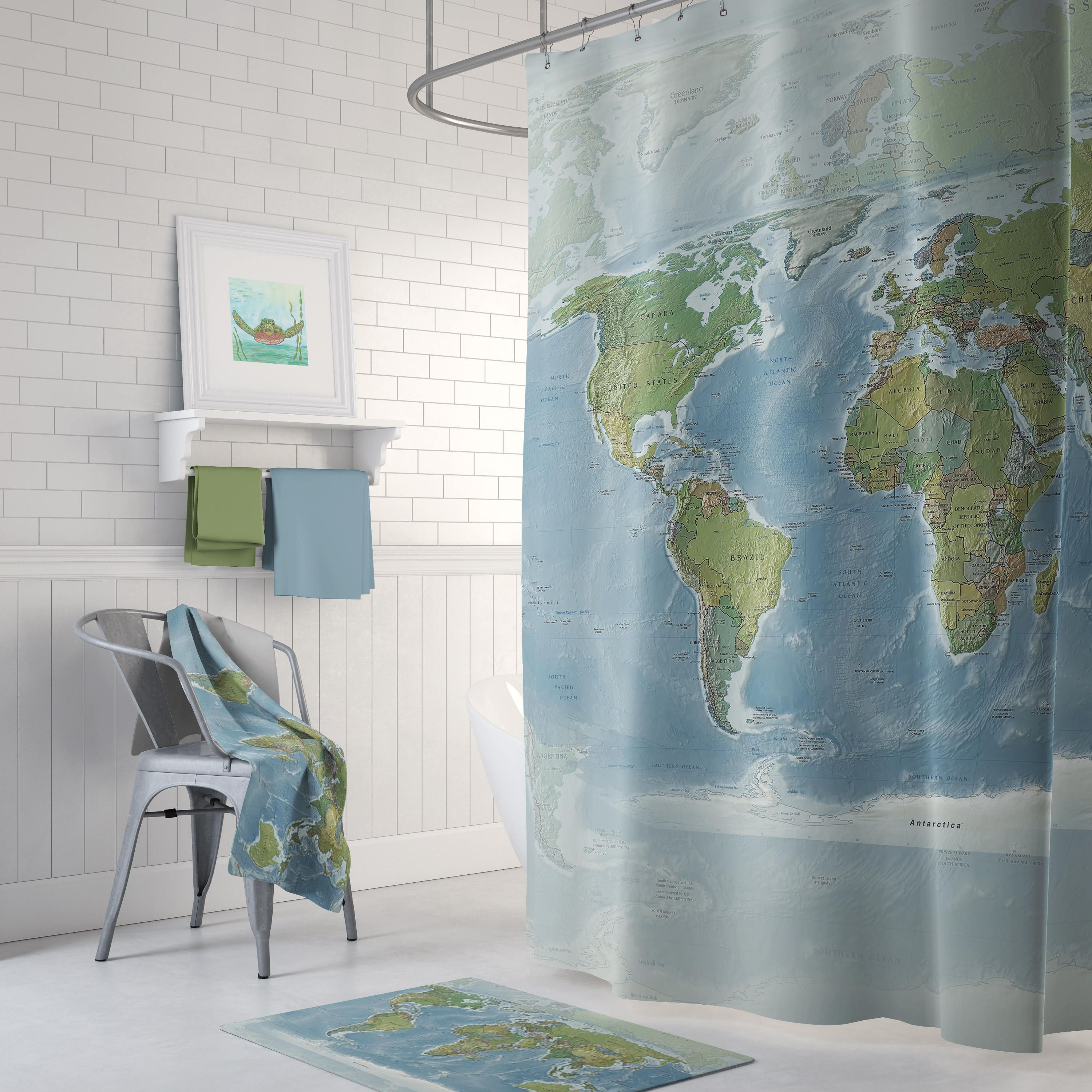Map Shower Curtain Topographic Home Decor Bathroom