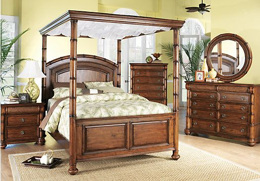 Rooms To Go Bedroom Sets Queen shop for a cindy crawford home key west dark pine canopy 6 pc king