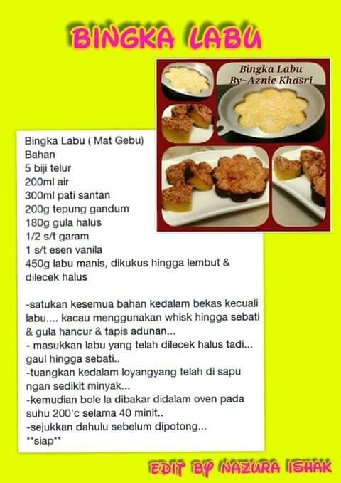 Bingka Labu Ide Makanan Makanan Kue