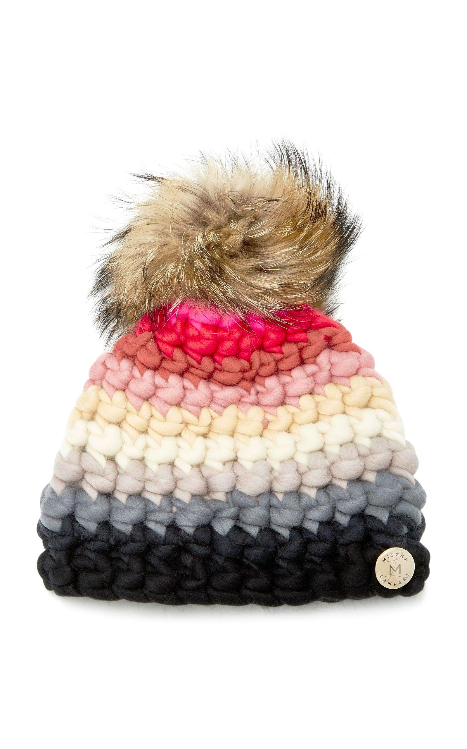 Striped Fox Fur-Trimmed Merino Wool Beanie Mischa Lampert w3AIXQ7