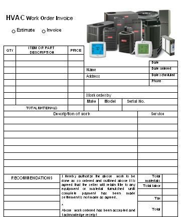 HVAC Invoice Template HVAC Invoice Templates Pinterest - Commercial invoice template excel free download online vapor store