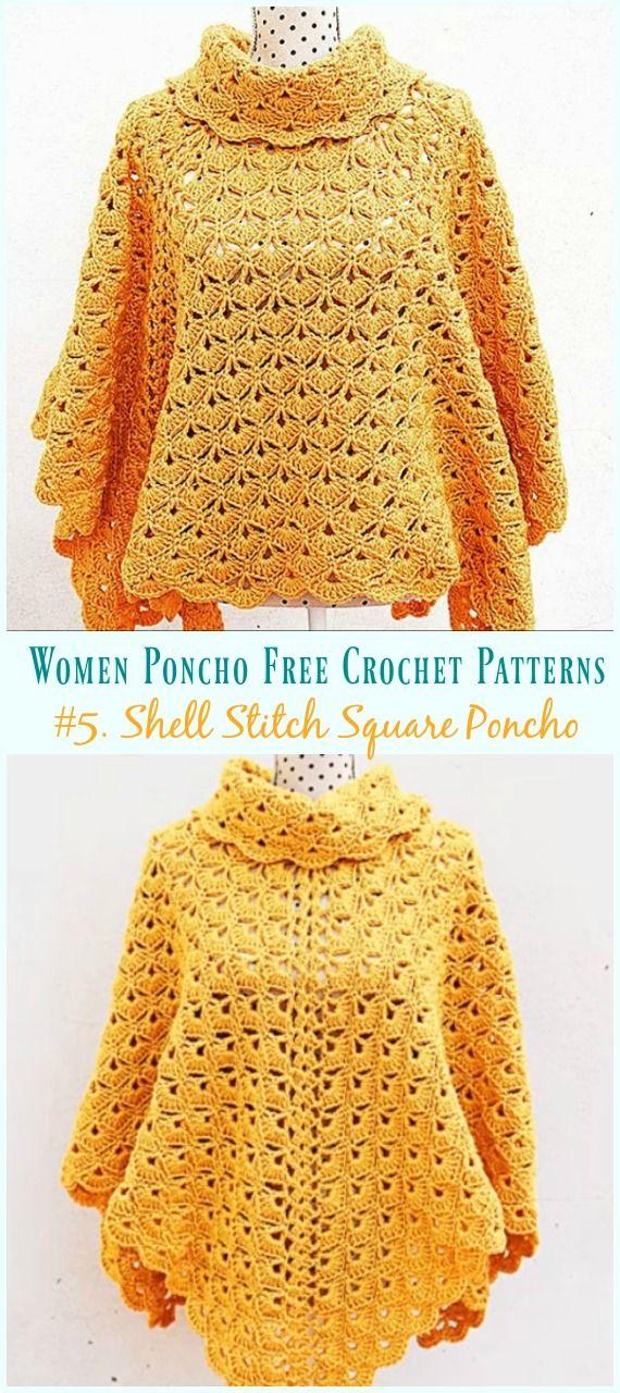 Shell Stitch Square Poncho Crochet Free Pattern #crochetsweaterpatternwomen