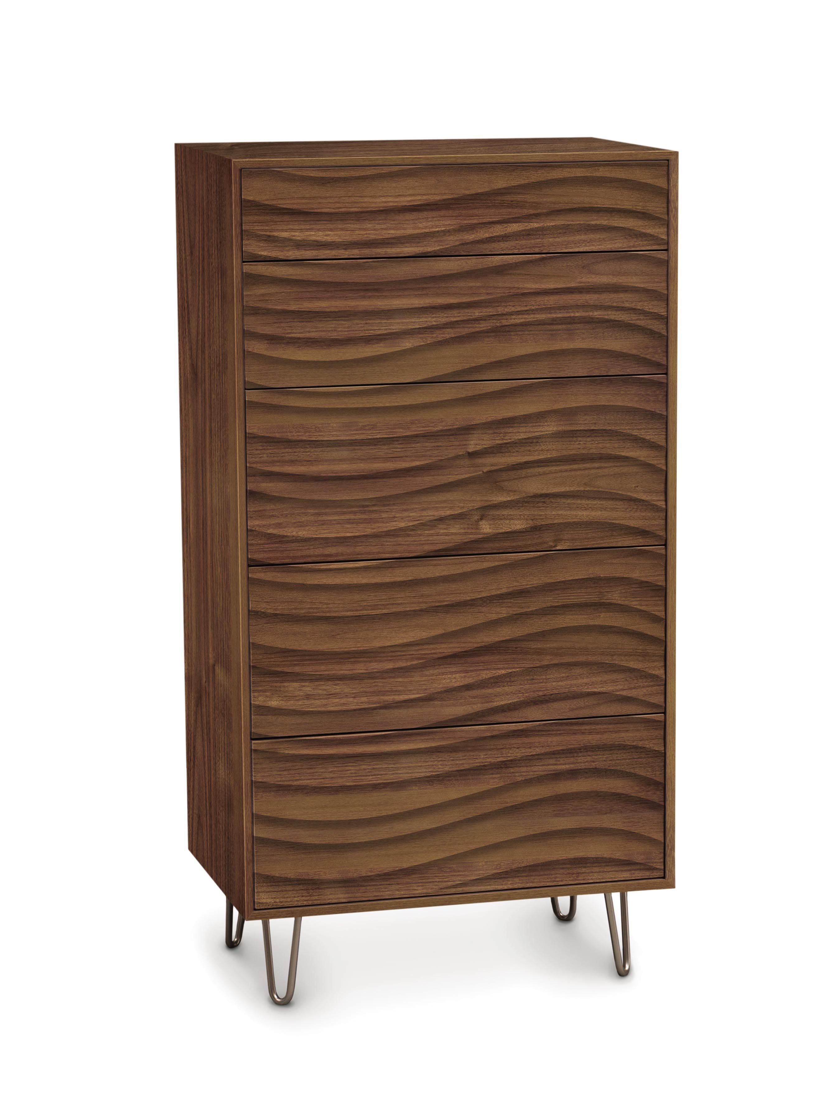Wave cases feature push to open drawers and metal or wood legs the