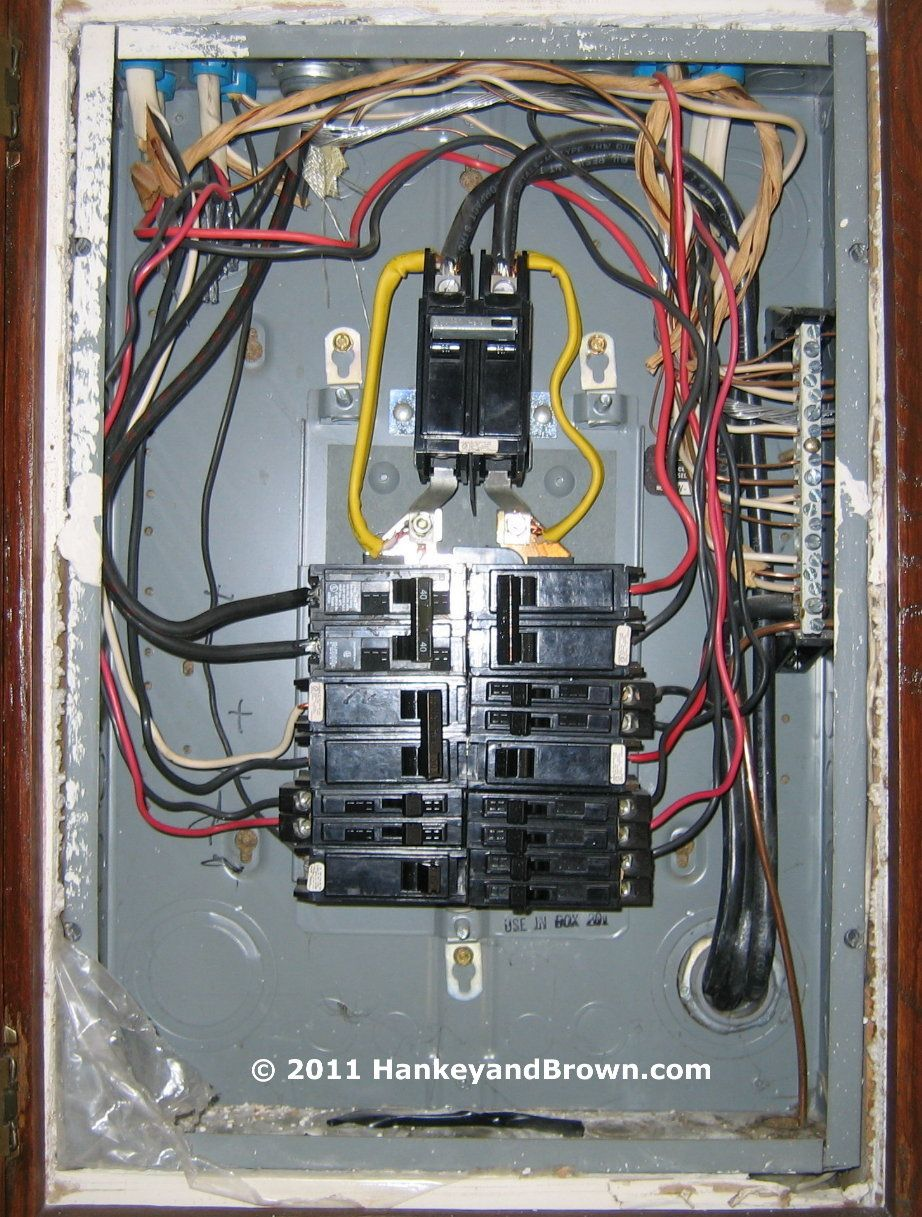Electric service panel with jumpered main breaker. Poor choices ...