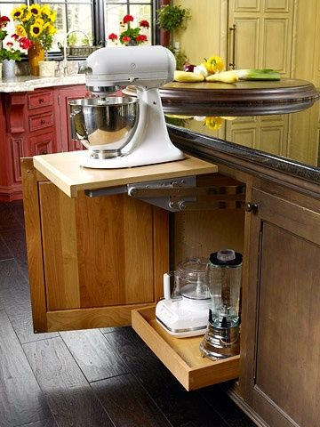 Keep Counters Clear And The Look Of Your Kitchen Flawless By Stashing Small Appliances Away Here A Kitchen Island Storage Kitchen Inspirations Kitchen Remodel