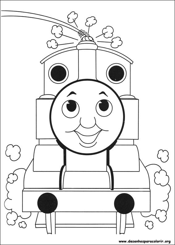 Desenho Thomas sorrindo para colorir | Kleurplaten | Pinterest | Basteln