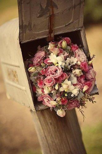 Flower bouquet in a mailbox