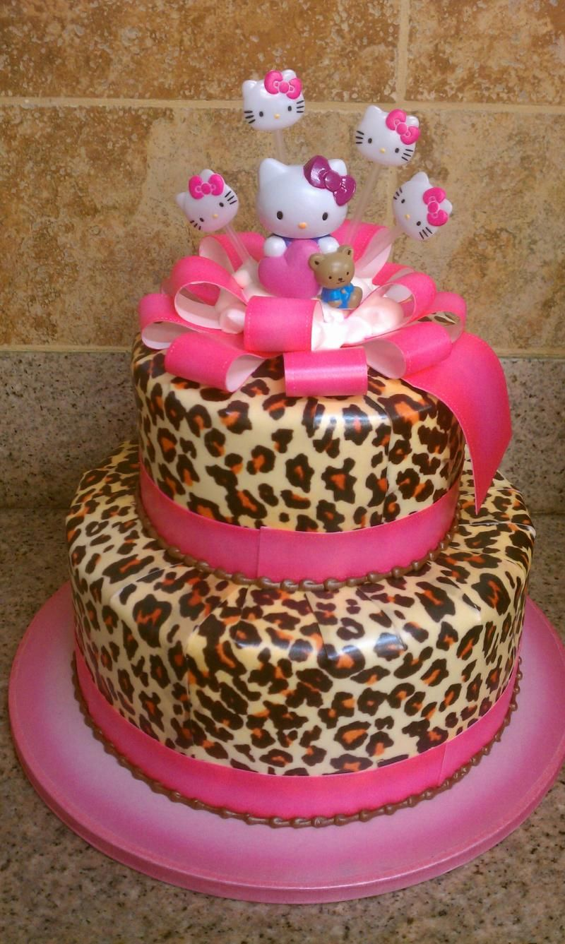 Super cute hello kitty cake leopard print Baby shower ideas