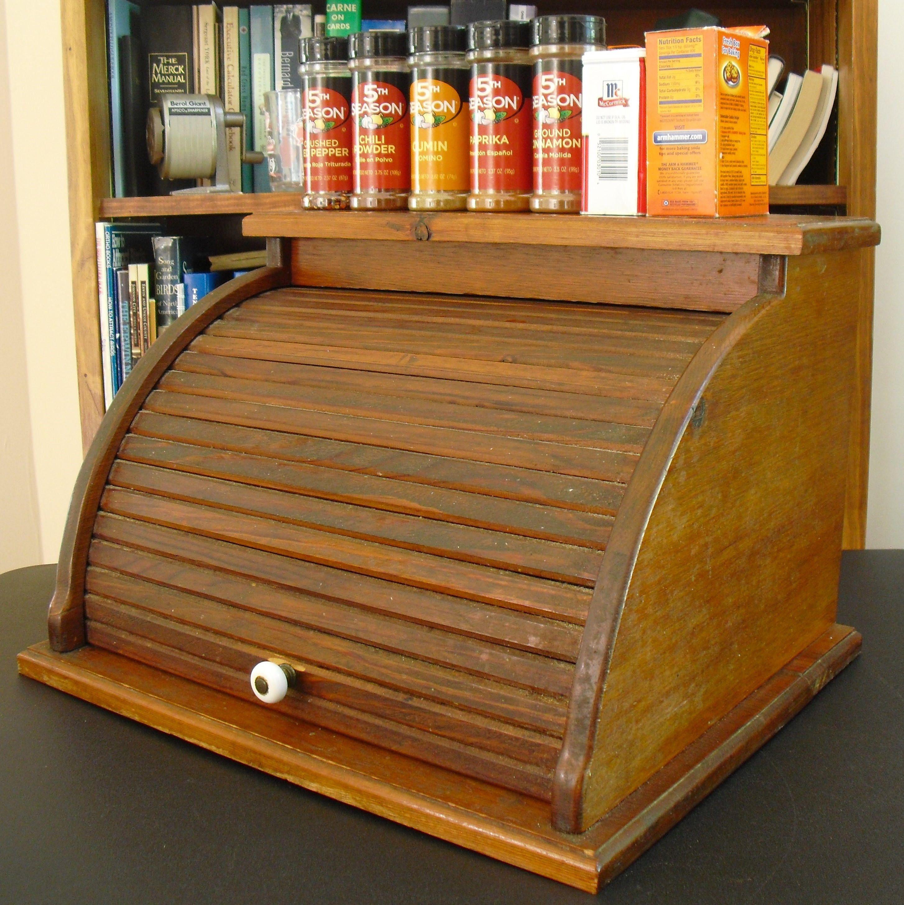 Vintage Wooden Roll Top Bread Box, Rustic Brown Bread Bin,