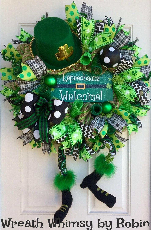 Saint patricks day leprechaun deco mesh wreath front door wreath saint patricks day leprechaun deco mesh wreath front door wreath irish wreath character wreath st pattys day decor leprechauns welcome rubansaba