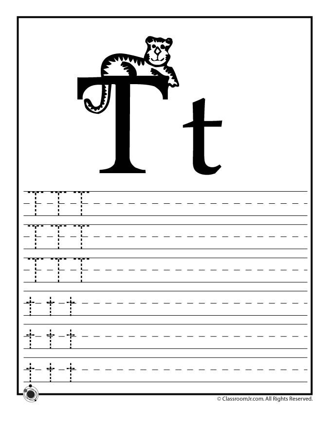 Learning Abcs Worksheets Learn Letter T Classroom Jr Carters