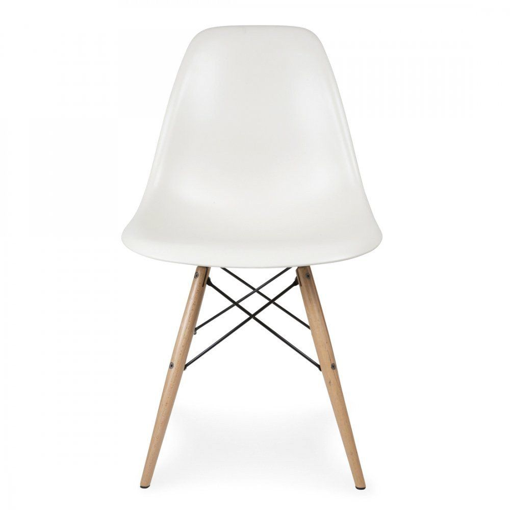 Eames Chair Weiß Charles Ray Eames Style Dsw Side Chair White - Natural Legs | Side Chairs, Chair, Eames Fiberglass Chair