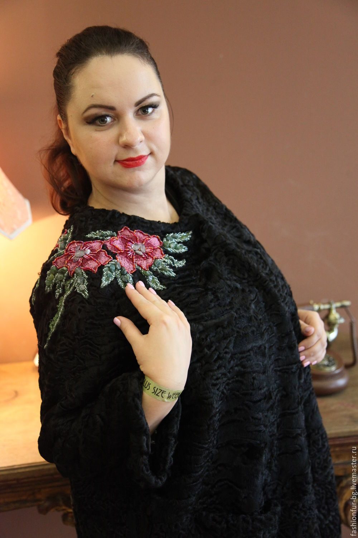 Купить шубка каракульча Алая Роза - черный, свакара, вышивка ручная…