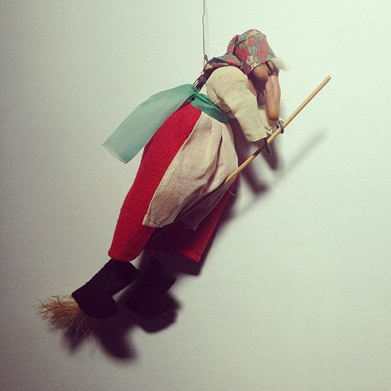 Vintage Original Norwegian Cottage Kitchen Witch Good Luck Antique Flying Crone On Broomstick Baba Yaga Doll Folklore Kitchen Witch Black Witch Hat Baba Yaga