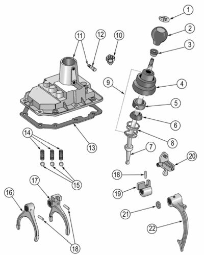 T 176 And T 177 Shift Cover Exploded View Diagram The