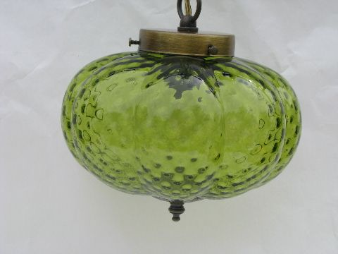 photo of retro 70s vintage hanging light swag lamp lime green melon shape glass shade