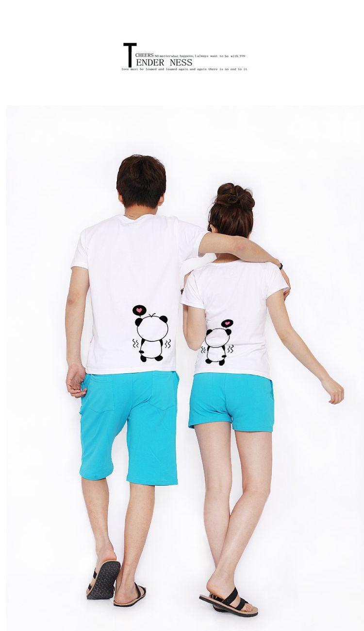 La séptima comuna nuevos amantes de verano de Corea dibujos de algodón amantes de la camiseta de manga corta el doble de mujeres día el viejo gato