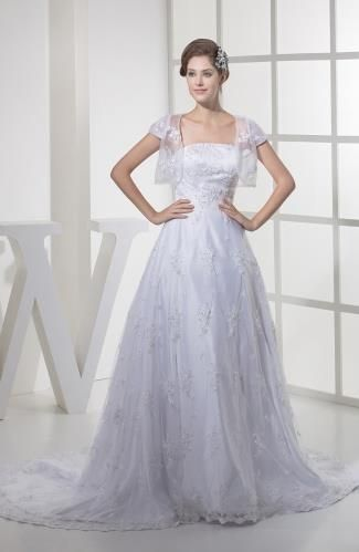 Tulle Strapless Bridal Dress - Order Link: http://www.theweddingdresses.com/tulle-strapless-bridal-dress-twdn5771.html - Embellishments: Paillette , Sequin , Appliques; Length: Court Train; Fabric: Tulle; Waist: Natural - Price: 283.99USD