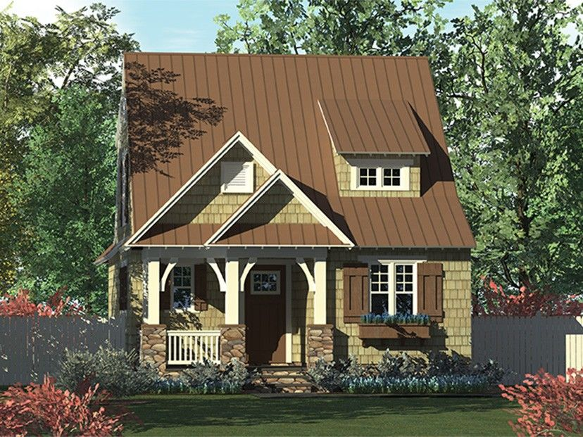 ePlans Bungalow House Plan \u2013 Cozy Narrow Lot Bungalow \u2013 1676 Square