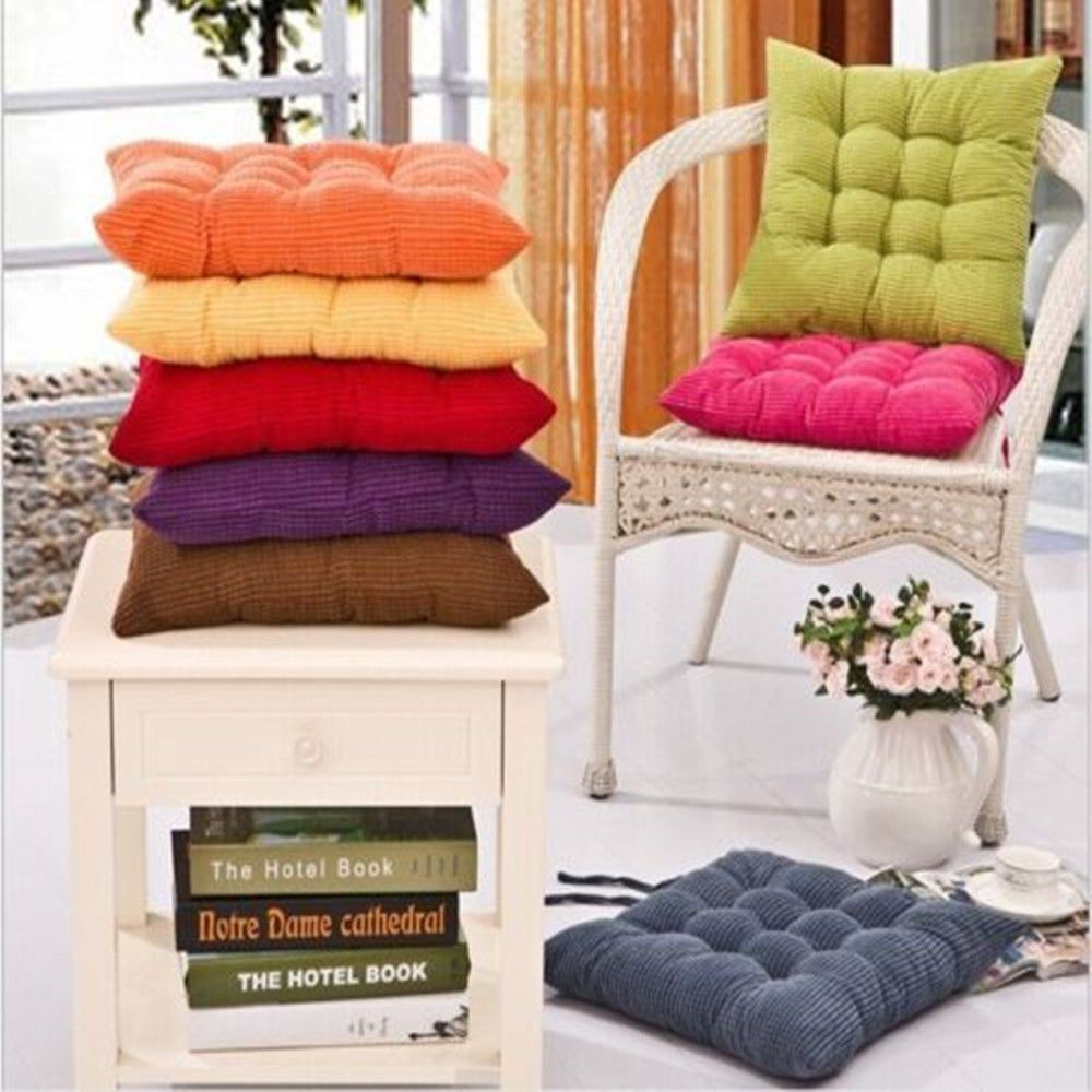 Soft Tie On Chair Cushion Plain Fruit Seat Pads Garden Dining Office Home Decor