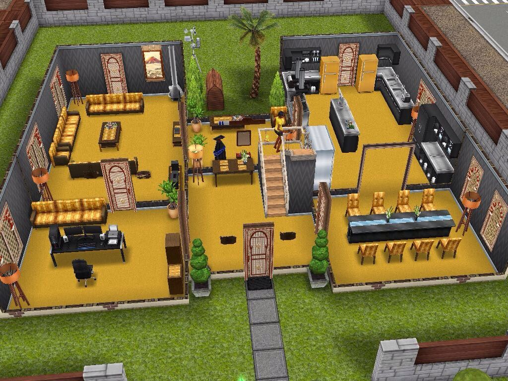 House design sims - Beautiful Yellow House All Credit To Rightful Builders Simsfreeplay Sims