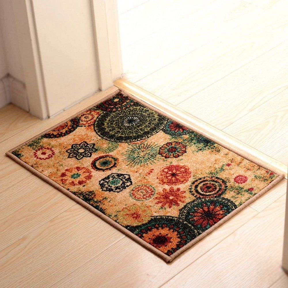 Wolala Home Bohemia Flower Printing Rugs Rubber Back Non Slip