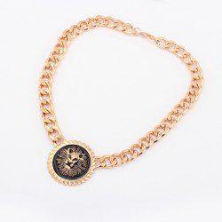 $6.05 Punk Style Lion Head Shape Pendant Solid Color Thick Chain Necklace For Women