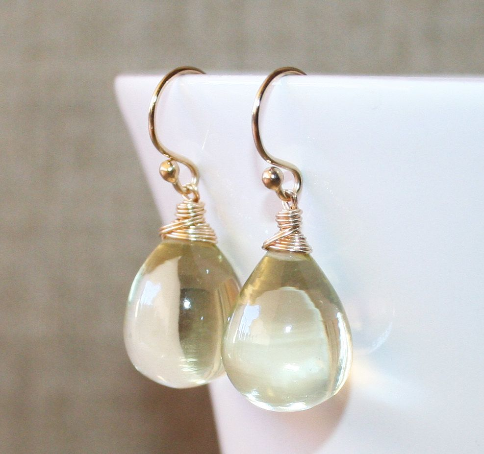 Flawless Lemon Quartz 14K Gold Filled Earrings, Wire Wrapped Earrings, Elegant and Eye Catching, Smooth Lemon Quartz