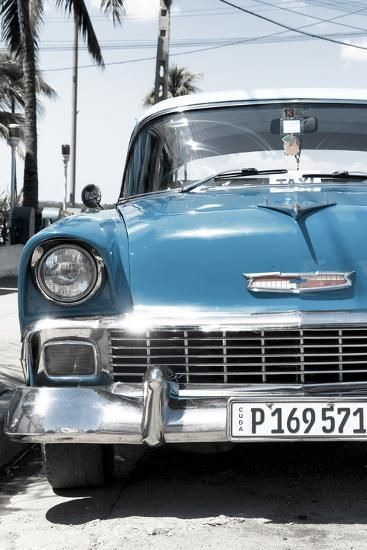 'Cuba Fuerte Collection - Blue Chevy Classic Car' Photographic Print - Philippe Hugonnard | Art.com