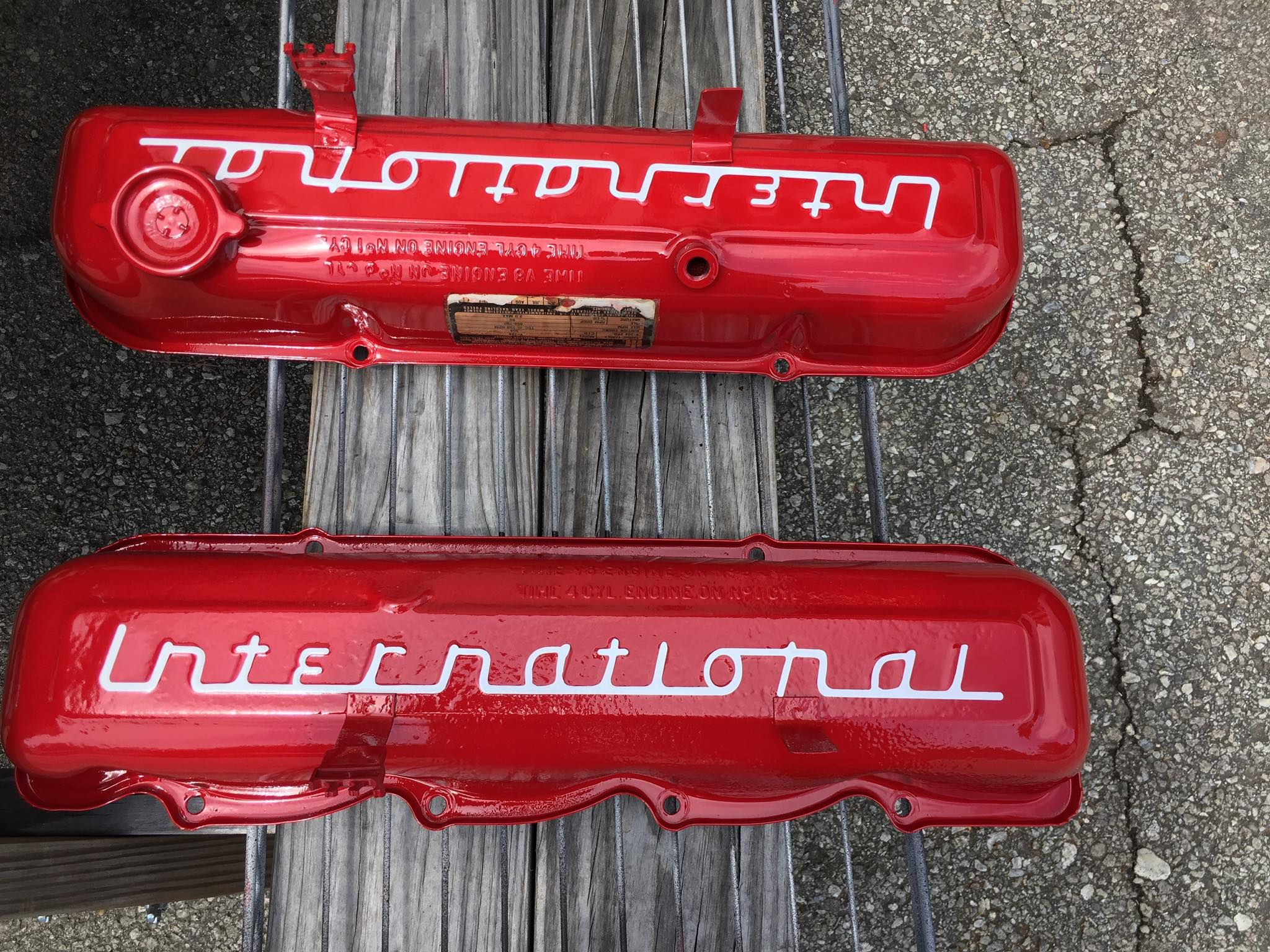 newly painted valve covers sporting the international logo