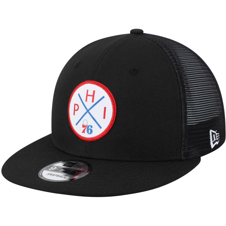 ff5bc3ab9d0c0a Men's Philadelphia 76ers New Era Black Vert Trucker 9FIFTY Snapback Hat,  Your Price: $31.99