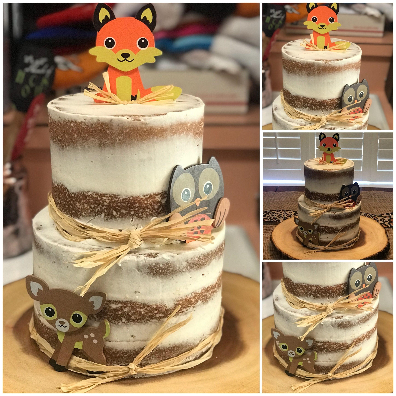 Woodland Themed Baby Shower Naked Cake Vanilla Cake With -4229