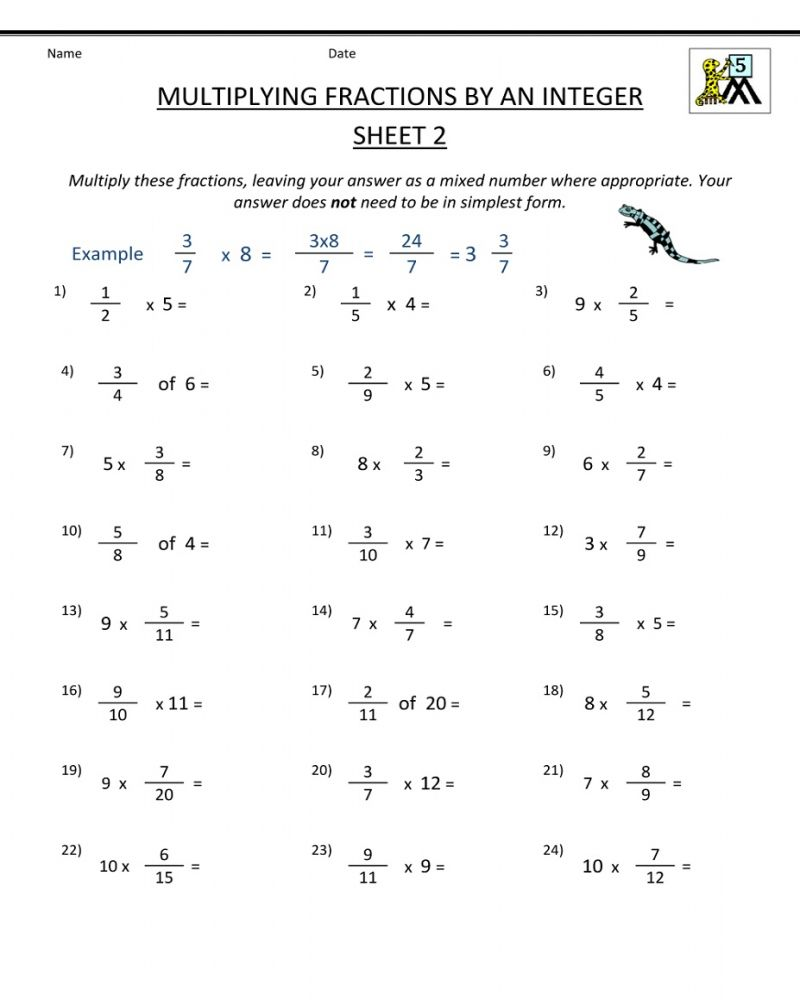 Math Problems 5th Grade Worksheet Printable In 2020 Fractions