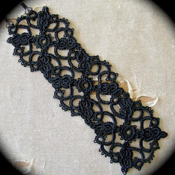 Tatted Lace Cuff Bracelet Ornate by TotusMel on Etsy