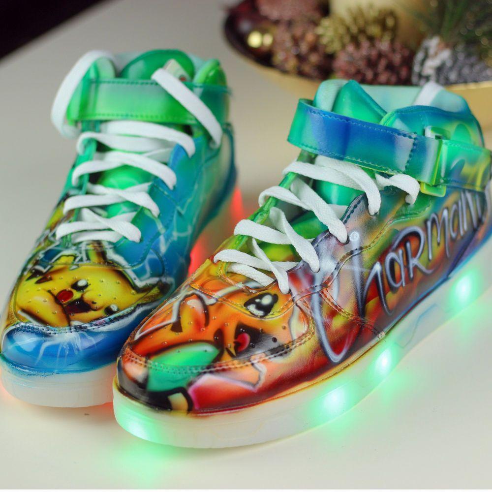 59a1c6798e1e8b Pokemon Light UP LED Shoes Pikachu Charmander Hand painted custom kids  sneaker  PokemonXY  ledshoes