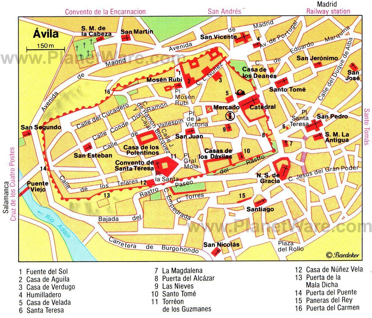 Avila Map Tourist Attractions Places Pinterest Map Ronda
