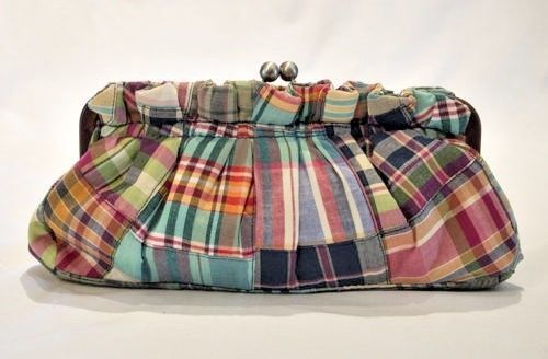 Tommy Hilfiger Madras Plaid Clutch Purse Handbag Multicolor Cotton Casual #TommyHilfiger #Purse