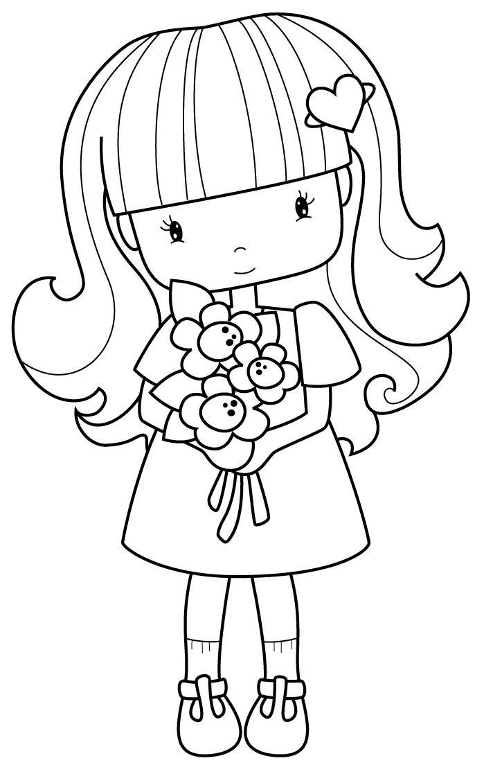 flower girl cute line drawing Shadow Stencil People