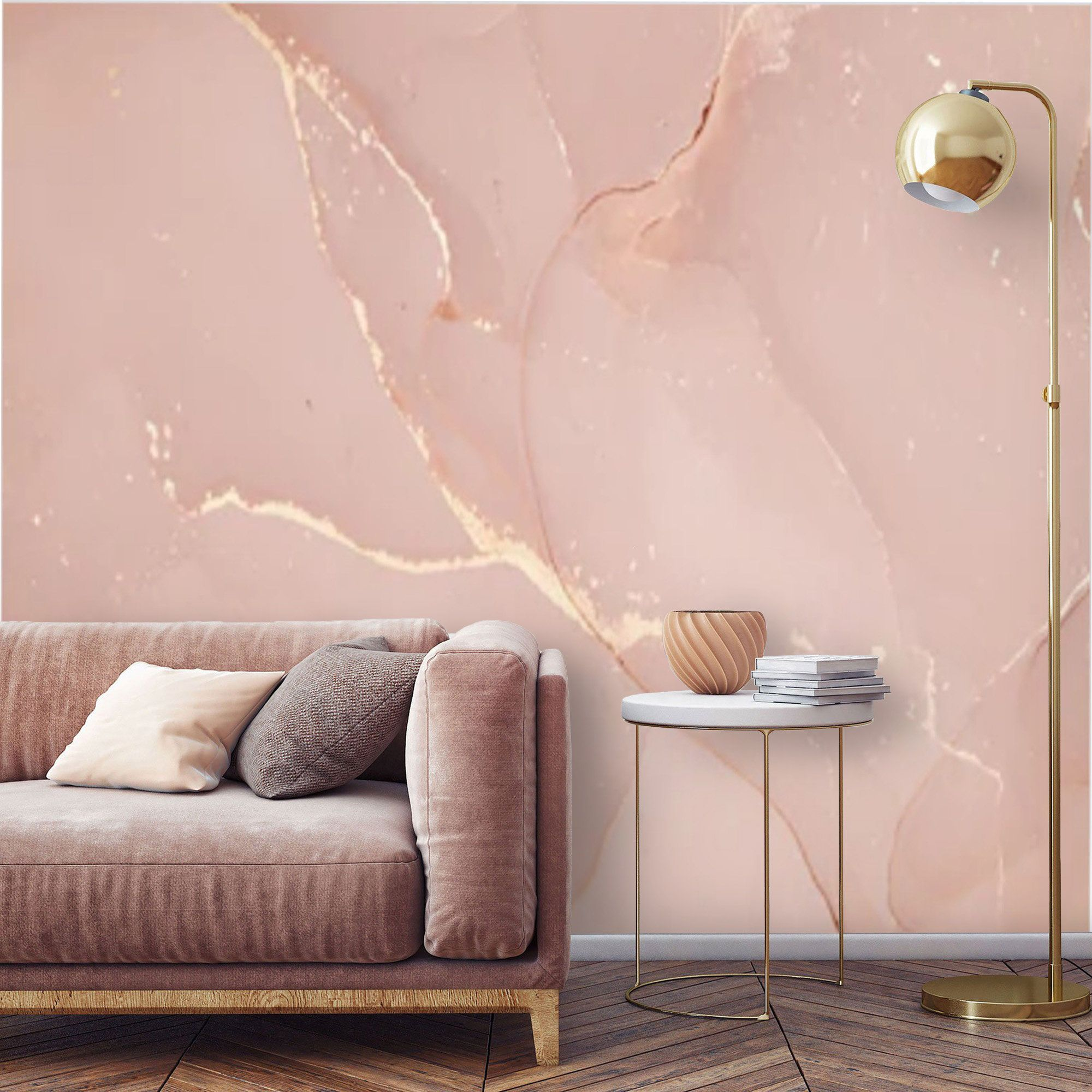 Peel And Stick Marble Pink Gold Wallpaper Mural Marble Self Etsy In 2021 Pink And Gold Wallpaper Gold Wallpaper Wallpaper Accent Wall