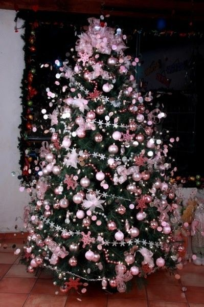 a beautiful overall pink themed christmas tree love a full tree with an abundance if decorations and glass balls