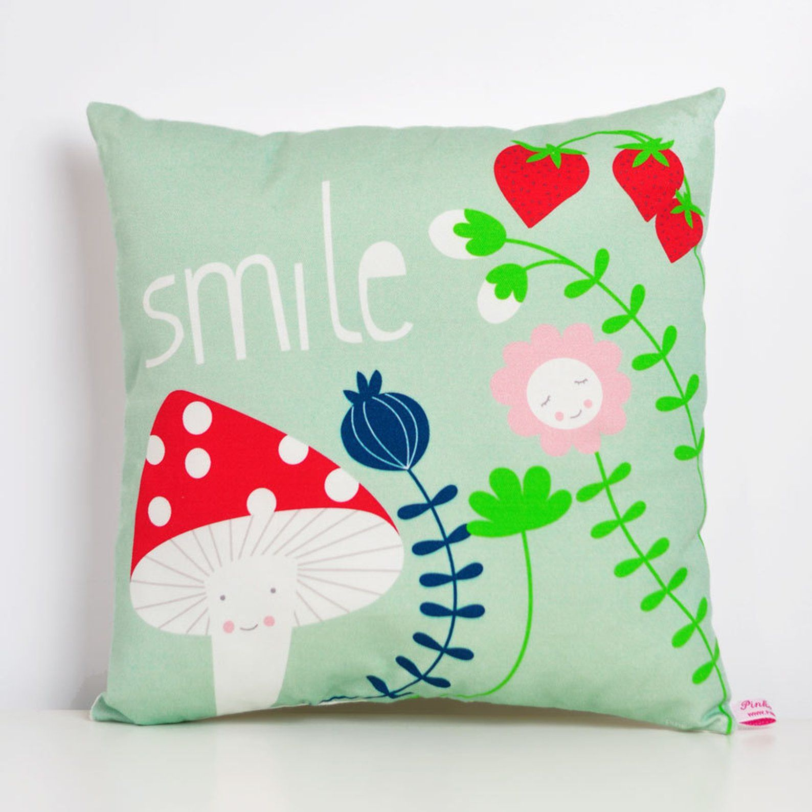 Decorative Throw Pillow For Kids Room Smile With Mushroom And