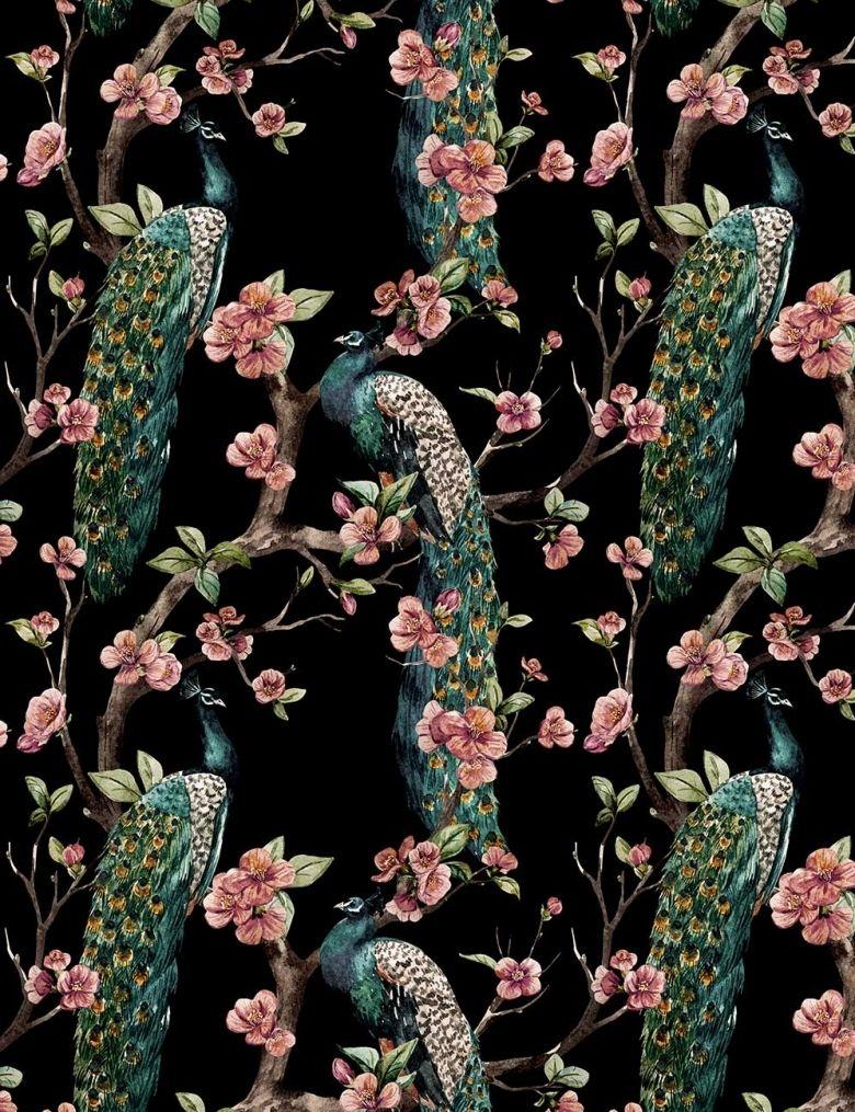 Enchanted garden emerald green Bird wallpaper, Green