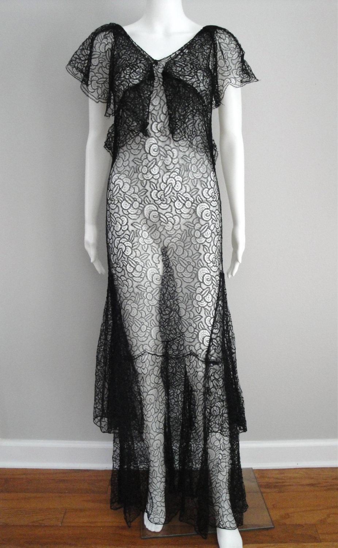 Vintage 1930s Dress Black Lace 30s Evening Gown Art Deco Lace Dress Black Vintage 1930s Dress 1930s Dress [ 1500 x 926 Pixel ]