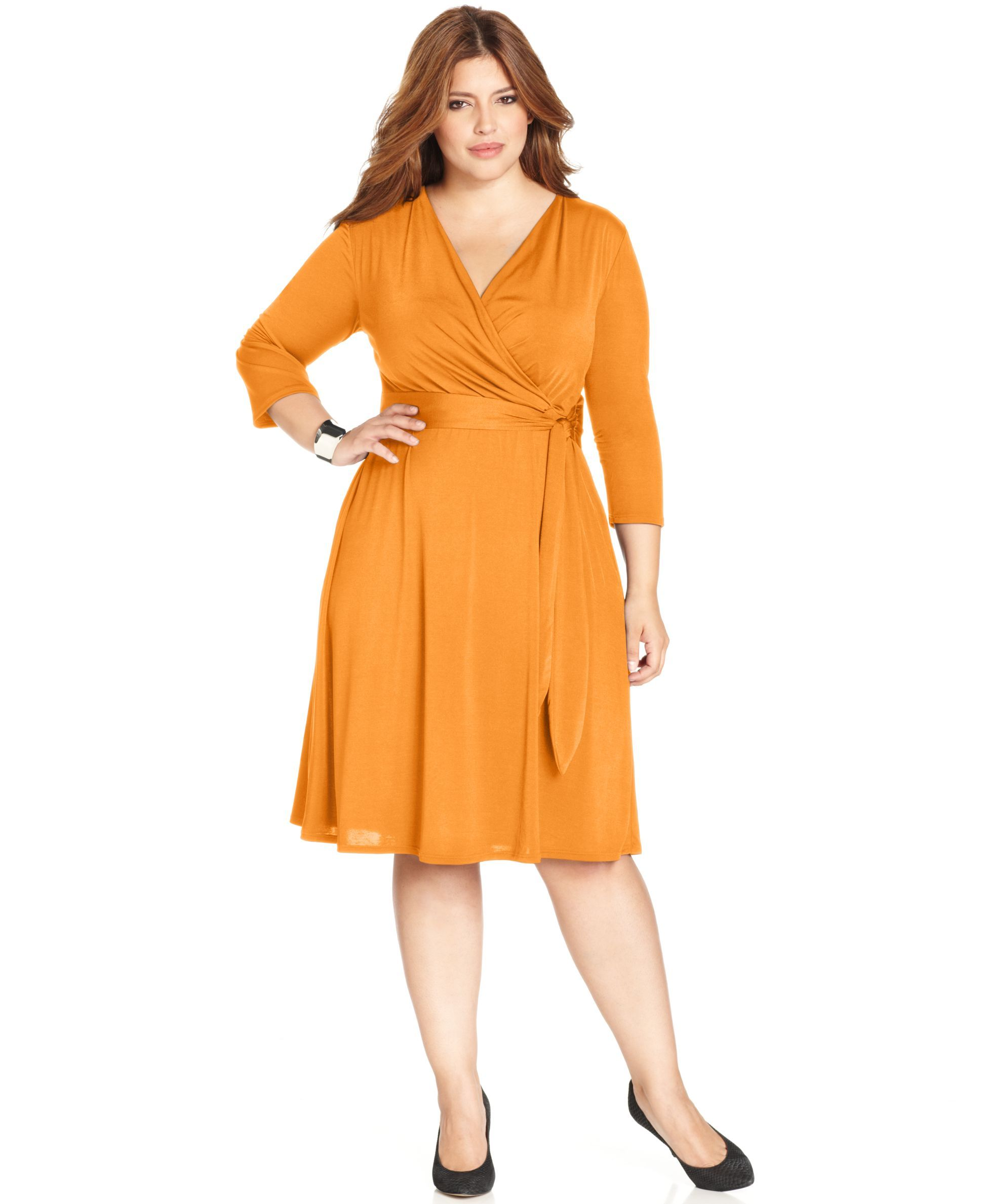 Ny Collection Plus Size Faux Wrap B Slim Dress Omegas Wearing