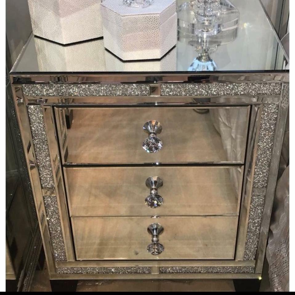 Milan Mirrored Diamond Three Drawer Bedside Home Ideas